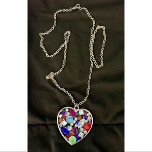 Multicolor Bejeweled Heart Necklace ❤️
